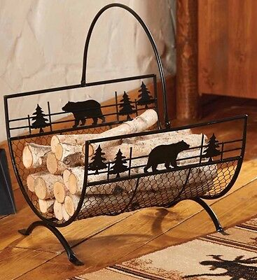 Metal Bears Firewood Carrier / Log - Rustic, Country, Cabin Lodge Decor