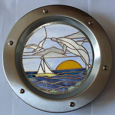 PORTHOLE FOR DOORS STAINED GLASS No. 4 phi 350 mm