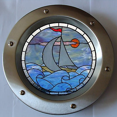 PORTHOLE FOR DOORS STAINED GLASS No. 7 phi 350 mm