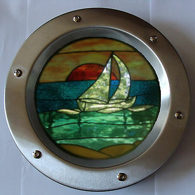 PORTHOLE FOR DOORS STAINED GLASS No. 8 phi 350 mm