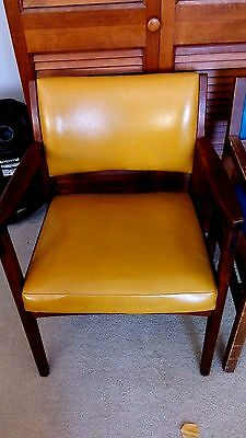 Vtg Mid Century Mustard Yellow Gold Vinyl Walnut ? Arm Chair Danish