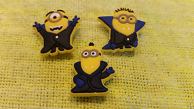 VAMPIRE MINIONS shoe charms/cake toppers!! Set of 3! FAST USA SHIPPING!
