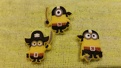PIRATE MINIONS shoe charms/cake toppers!! Set of 3! FAST USA SHIPPING!