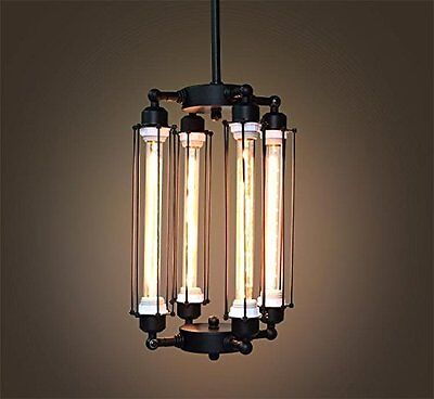 Tube Big Cage Edison Bulb Chandelier 4 lights Lobby Hanging Mid Century pendant