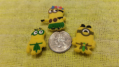 HULA MINIONS shoe charms/cake toppers!! Set of 3! FAST USA SHIPPING!