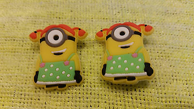 "MINIONS ""GIRL"" pair shoe charms/cake toppers!!! FAST USA SHIPPING!"