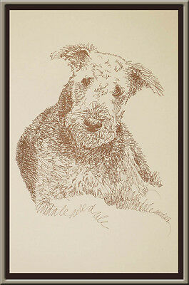 Airedale Terrier dog art portrait drawing PRINT 73 Kline adds dog's name free.