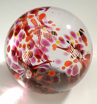 """Swedish Crystal Flower Paperweight From Konstglas,Ronneby,Sweden - Dia.4"""""""