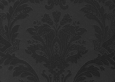 Black Damask Belgravia Seriano Italian Heavyweight Feature Wallpaper Gb 5860