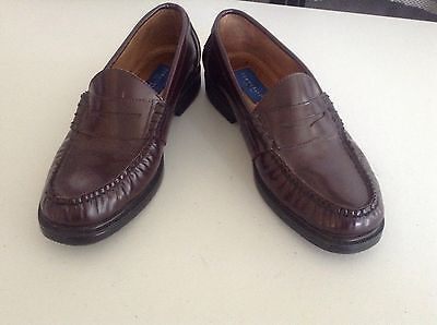40560a27196 Men s Towncraft Brown Leather Penny Loafer Slip-On Casual Shoes Size 8.5 M