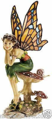 Stained Glass Butterfly Fairy On Mystical Mushroom Of Nature Art Sculpture