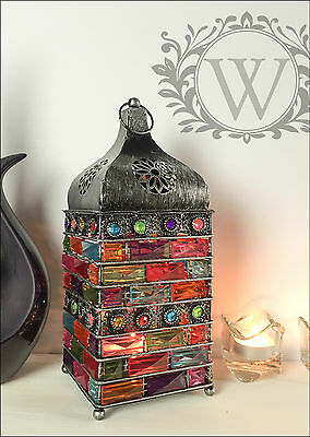 New Large Bejeweled Lantern Holder Candle Style Garden Antique Silver Moroccan