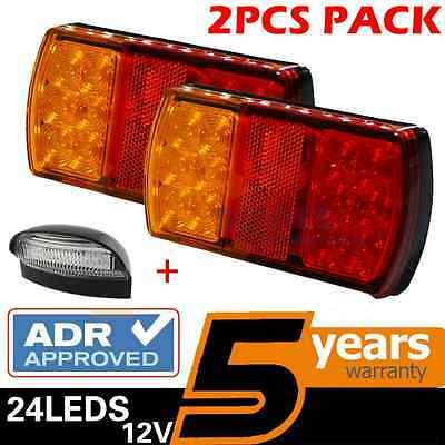 2 x TRAILER TAIL STOP LIGHT + NUMBER PLATE LED LAMP SUBMERSIBLE BOAT 12 VOLT