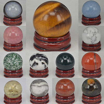 Wholesale Lots New 30MM Mix Natural Stone Sphere Crystal Healing Globe Ball