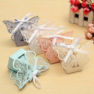 10/50/100X Paper Butterfly Wedding Cake Candy Box Party Favor Ribbon Baby Shower