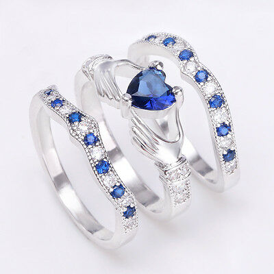 925 Sterling Silver Blue Sapphire CZ Heart Irish Claddagh Ring Wedding Jewelry