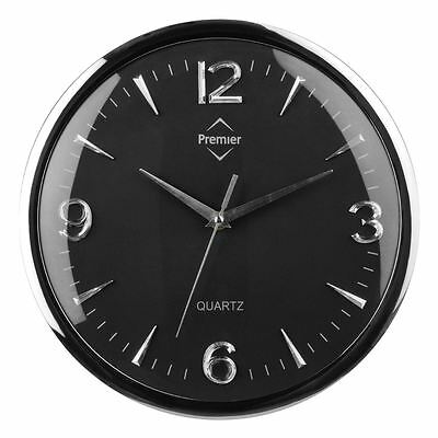 Wall Clock Black Round Plastic Chrome Effect with Silver Numbers