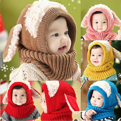 Winter Warm Baby Kids Boy Girl Beanie Hat Hooded Scarf Earflap Knit Wool Cap New