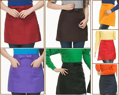 Hot Half-length Short Waist Solid Apron With Pocket Chefs Catering Waiters Bar