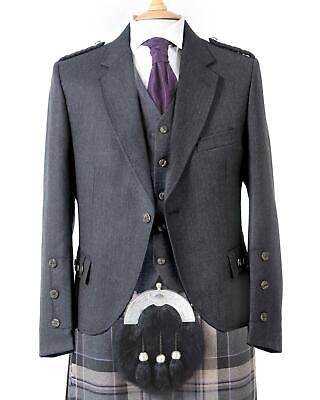 Crail Highland Jacket & Button Waistcoat Charcoal Grey Arrochar Tweed - Regular