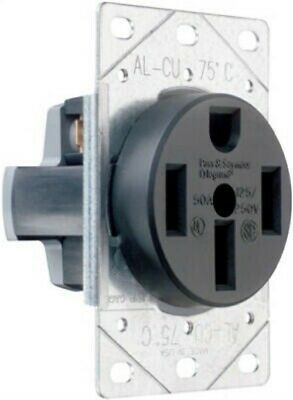 Pass & Seymour #3894CC6 50ABLK Flush Ran Outlet by Pass & Seymour