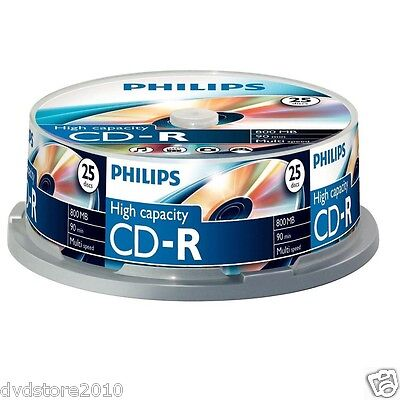 25 Philips 40X CD -R 800MB 90 minuti cdr Spindle CR8D8NB25-0 8710895782371