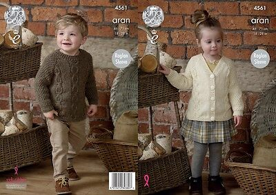 KINGCOLE 4561  BABY ARAN KNITTING PATTERN  18-28IN -not the finished garments