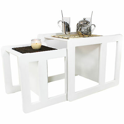 3 in 1 Adult's Multifunctional Nest of Coffee Tables Set of 2, White Stained