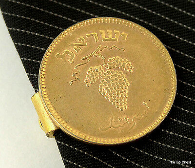 """Tie Clip Bar Clasp Israel Coin Grapes Gold Tone Short 3/4"""" 2cm Mens Jewelry"""