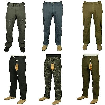 Kam Mens Big Size Army Camouflage Casual Combat Cargo Hunting Walking Trousers