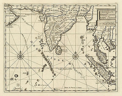 HJB-AntiqueMaps : 1714 Map of India and Southeast Asia by Bruyn