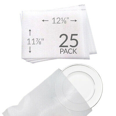 """11 7/8""""x 12 1/8"""" Foam Pouches for Plates (25 Pack) Protect Dishes"""