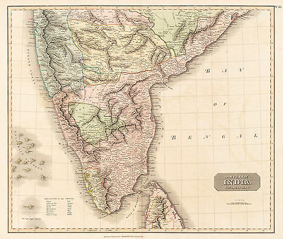 HJB-AntiqueMaps : 1815 Map of Southern India by Thompson