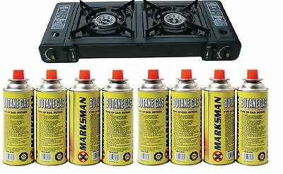 New Portable Outdoor Double Gas Stove Dual 2 Burner Camping Cooker 8 Gas Refills