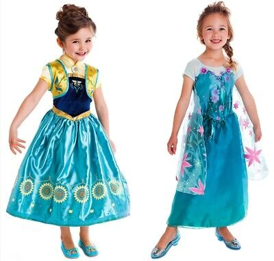 UK Elsa Frozen Fever Fancy Dress Costume Girls Princess Ages 3/4/5/6/7/8/9/10