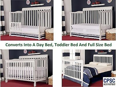 Children Crib 5in1 Convertible Cribs Portable Baby Toddler Bed Nursery Furniture