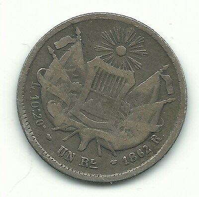 Very Nice 1862 Guatemala Silver One Real Coin-Apr197