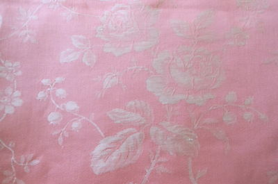 Antique Vintage French Pink Roses Garland Linen Cotton Ticking Damask Fabric