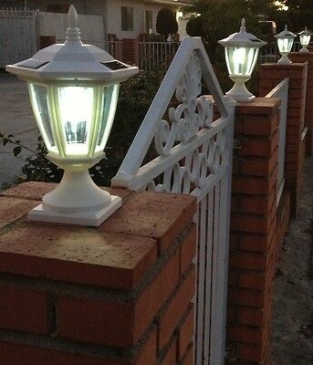 4-Pk Solar Heat-Res Plastic Hexagon Light w/ Wall Mount or Fence Post Cap Base