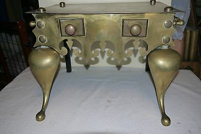 ANTIQUE Brass Footman Fireplace Hearth Trivet Stand - 19th Century