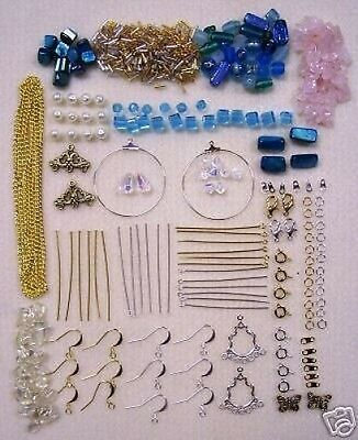 New Blue Bead Kit with Silver & Gold Tone Findings & Free Beading Instructions