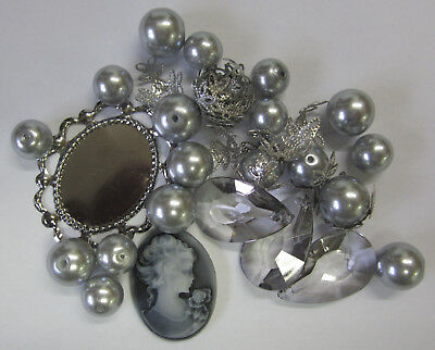 Cameo & Pearl Bead Mix Grey 39 Pieces Glass Pearls, Acrylic Drops, Caps TAR013
