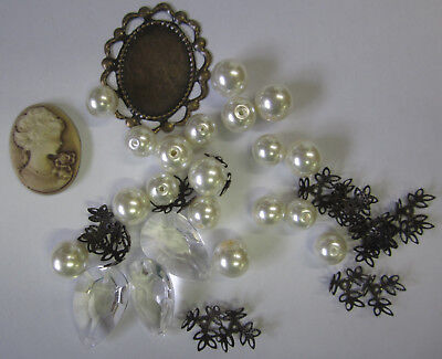 Cameo & Pearl Bead Mix Cream 39 Pieces Glass Pearls, Acrylic Drops, Caps TAR015