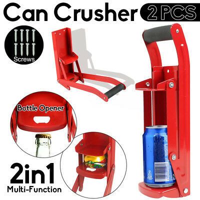 2X Can Crusher Bottle Opener Aluminium Recycling Cans Kitchenware Beer Soda 16oz
