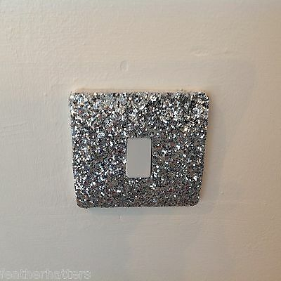 Glitter Fabric Light Switch Cover Very Bling 8 Colours Available Self Adhesive