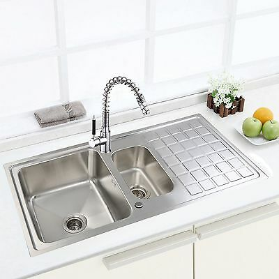 Kitchen Sink and Taps ,1.5 Bowl Stainless Steel Sink with Drainer & Kitchen Tap