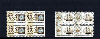 1972 200th Anniversary Circumnavigation Of AAT By Cook Set Of 2 Blocks Of 4 MNH