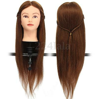 """26"""" Cosmetology Training 100% Real Human Hair Long Hairdressing Head Mannequin"""