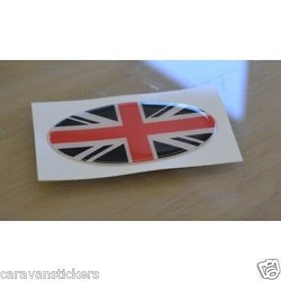 Union Flag Resin Domed Oval Sticker Decal Graphic (Black/Red) - PAIR