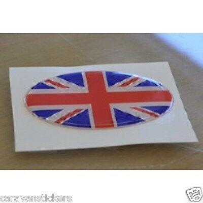 Union Flag Resin Domed Oval Sticker Decal Graphic (Red/White/Blue) - PAIR